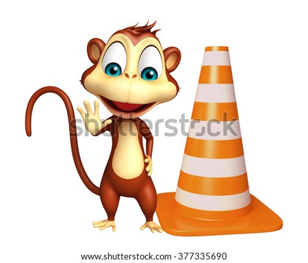 3d rendered illustration of Monkey cartoon character with construction cone   - stock photo