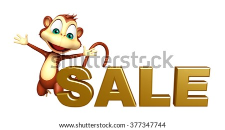 3d rendered illustration of Monkey cartoon character with sale sign
