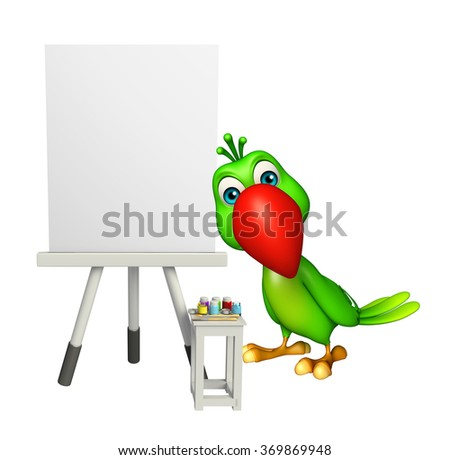 3d rendered illustration of Parrot cartoon character with easel sign - stock photo