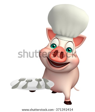3d rendered illustration of Pig cartoon character with chef hat and dinner plate
