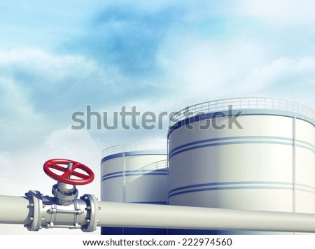 3d rendered illustration of pipeline with red valve. Fuel or oil industrial storages on background - stock photo