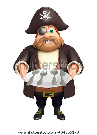 3d rendered illustration of Pirate with Dinner plate,Spoon
