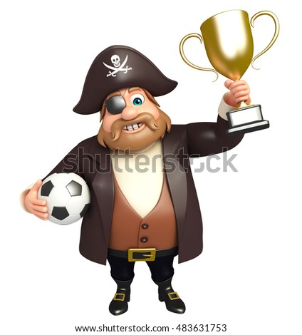 3d rendered illustration of pirate with football and trophy