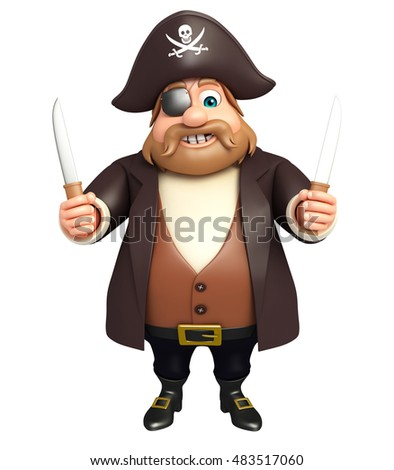 3d rendered illustration of pirate with knife