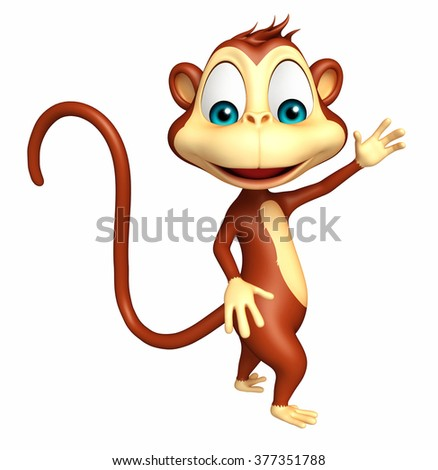 3d rendered illustration of pointing Monkey cartoon character   - stock photo