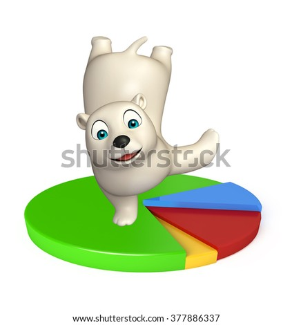 3d rendered illustration of Polar bear cartoon character with circle sign