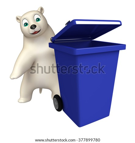 3d rendered illustration of Polar bear cartoon character with dustbin 