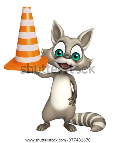 3d rendered illustration of Raccoon cartoon character with construction cone  - stock photo