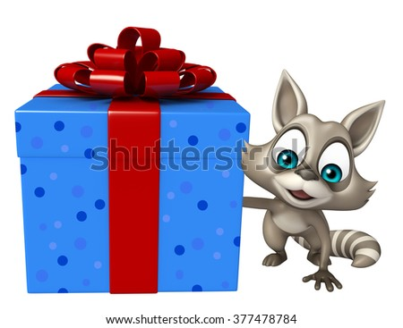 3d rendered illustration of Raccoon cartoon character with giftbox