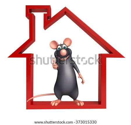 3d rendered illustration of Rat cartoon character with home sign