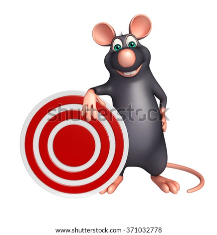 3d rendered illustration of Rat cartoon character with target  - stock photo