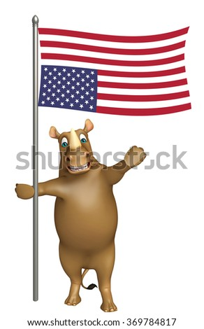 3d rendered illustration of Rhyhorn cartoon character with flag