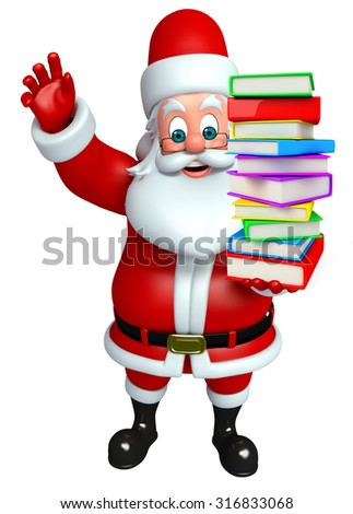 3d rendered illustration of santa claus with books pile
