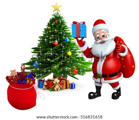 3d rendered illustration of santa claus with christmas tree - stock photo