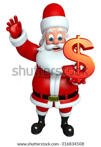 3d rendered illustration of santa claus with dollar sign