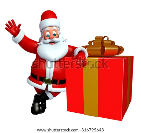 3d rendered illustration of santa claus with gift box