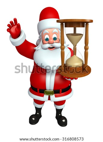 3d rendered illustration of santa claus with sand clock