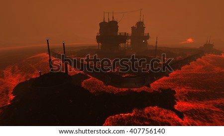 3D rendered illustration of sci-fi lava factory on lava planet - stock photo