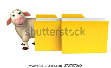 3d rendered illustration of Sheep cartoon character with folder