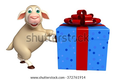 3d rendered illustration of Sheep cartoon character with giftbox