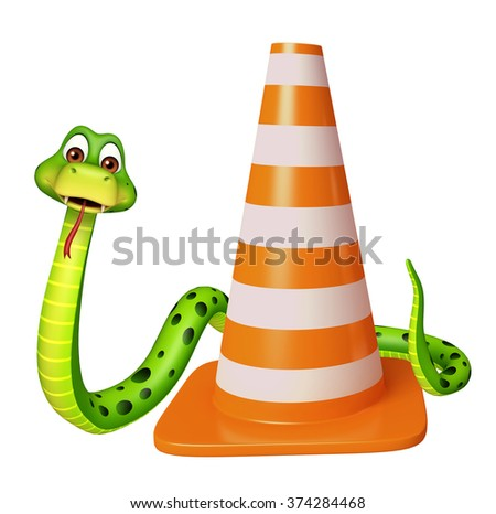 3d rendered illustration of Snake cartoon character with construction cone - stock photo