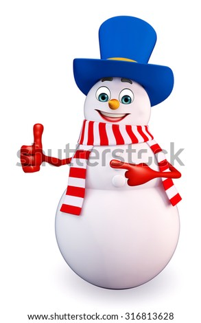 3d rendered illustration of snowman