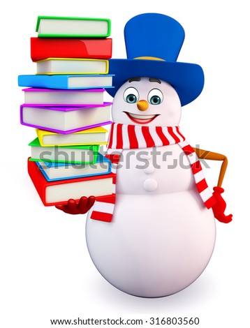 3d rendered illustration of snowman with books pile - stock photo