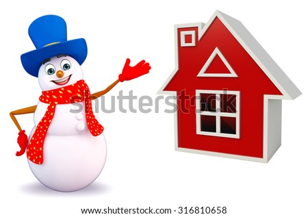 3d rendered illustration of snowman with house - stock photo