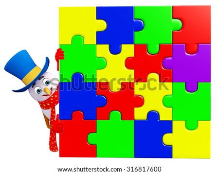 3d rendered illustration of snowman with puzzle - stock photo