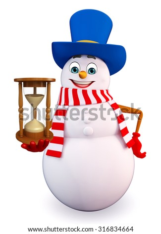3d rendered illustration of snowman with sand clock - stock photo