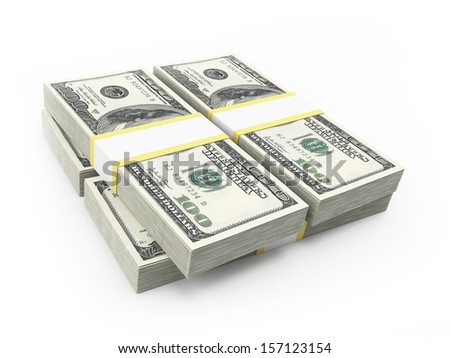 3d rendered illustration of some dollar stacks