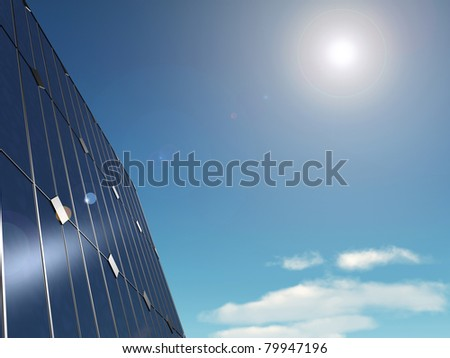 3d rendered illustration of some solar panels - stock photo