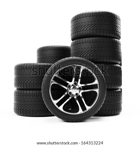 3d rendered illustration of some tires - stock photo