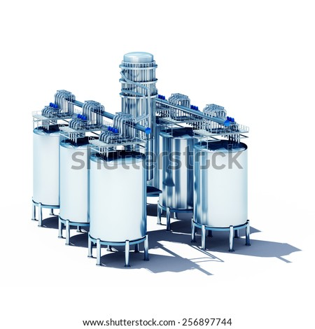 3d rendered illustration of steel fermentation vats. Isolate on white background - stock photo
