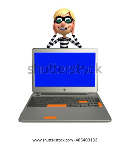 3d rendered illustration of Thief with Laptop