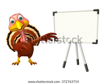 3d rendered illustration of Turkey cartoon character with display board