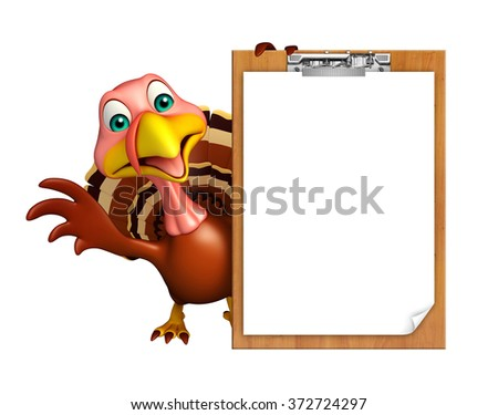 3d rendered illustration of Turkey cartoon character with exam pad
