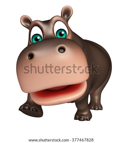3d rendered illustration of walking Hippo cartoon character