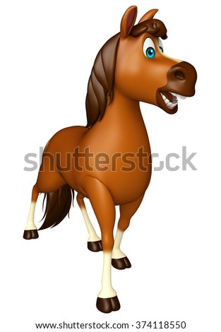 3d rendered illustration of walking Horse cartoon character