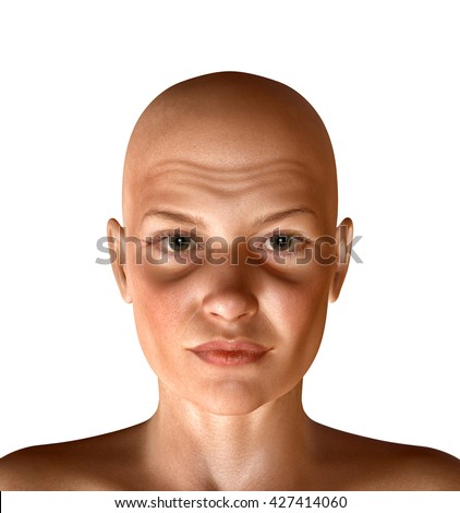 3d rendered illustration of woman with face wrinkles