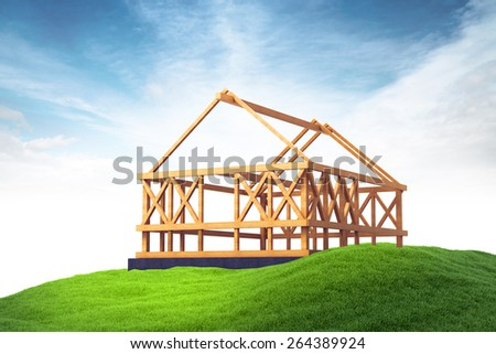 3d rendered illustration of wooden framing for construction of new house on grass on sky background - stock photo