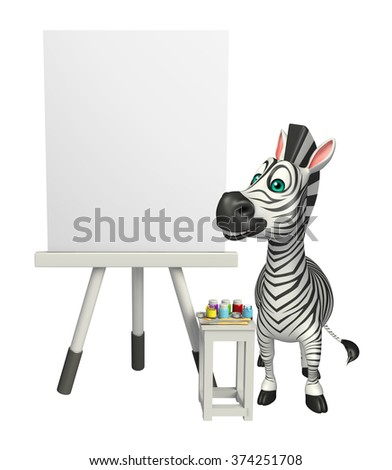 3d rendered illustration of Zebra cartoon character with easel board    - stock photo