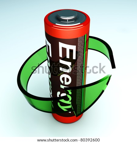 3D rendered Illustration. Symbol for a rechargable AA Battery. - stock photo