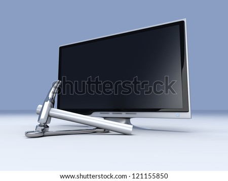 3D rendered Illustration. Tools for a HDTV.