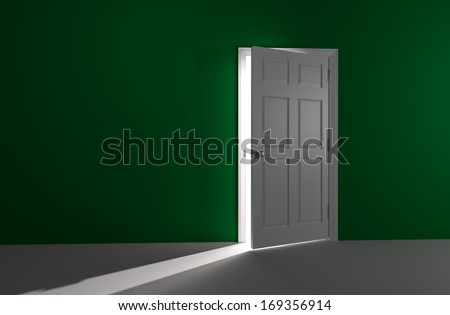 3D rendered image of a white door in a green wall is slightly open. A bright and glowing white light shines in.