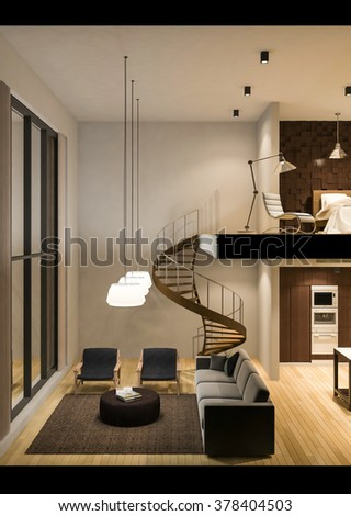 3D rendered image of double space apartment in living box,White fabric  curtains being blown