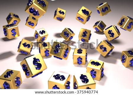3d rendered image of golden dices with money symbol - stock photo