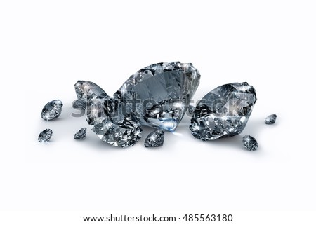 3D rendered image of Sparkling diamonds on white background with work PATH
