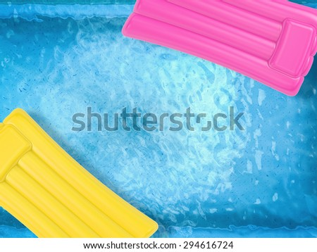 3d rendered inflatable rafts on pool top view  - stock photo