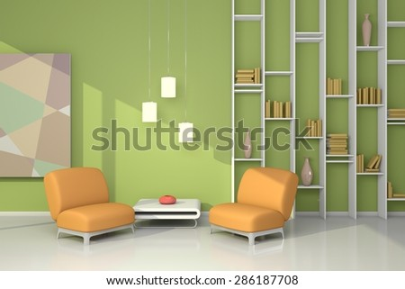 3d rendered interior composition with armchairs, simple shelf and abstract picture. - stock photo